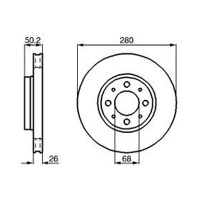 BOSCH  0 986 478 602 Bremsscheibe Bremsscheibendicke: 26mm, Lochanzahl: 4, Ø: 280mm