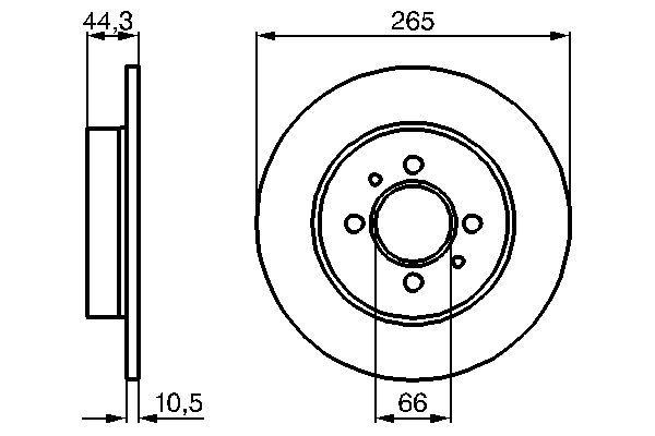 BOSCH  0 986 478 611 Bremsscheibe Bremsscheibendicke: 10,5mm, Lochanzahl: 4, Ø: 265,3mm
