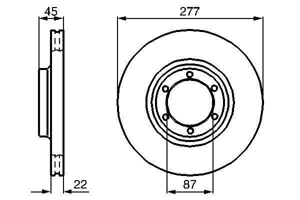 BOSCH  0 986 478 635 Bremsscheibe Bremsscheibendicke: 22mm, Lochanzahl: 6, Ø: 277,2mm
