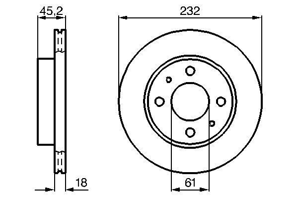 BOSCH  0 986 478 650 Bremsscheibe Bremsscheibendicke: 18mm, Lochanzahl: 4, Ø: 232mm