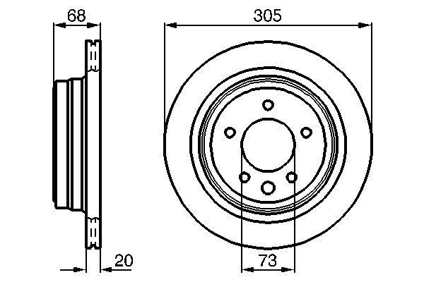 BOSCH  0 986 478 660 Bremsscheibe Bremsscheibendicke: 20mm, Lochanzahl: 5, Ø: 305mm