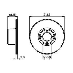 Bremsscheibe Bremsscheibendicke: 9,5mm, Lochanzahl: 4, Ø: 213,5mm mit OEM-Nummer 21A 2612