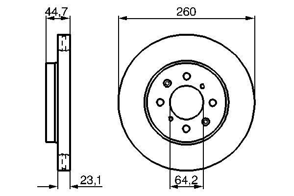 BOSCH  0 986 479 226 Bremsscheibe Bremsscheibendicke: 23mm, Lochanzahl: 4, Ø: 260mm