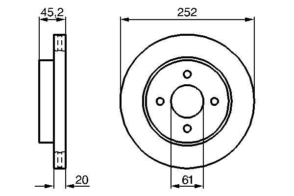 BOSCH  0 986 479 238 Bremsscheibe Bremsscheibendicke: 20mm, Lochanzahl: 4, Ø: 252mm