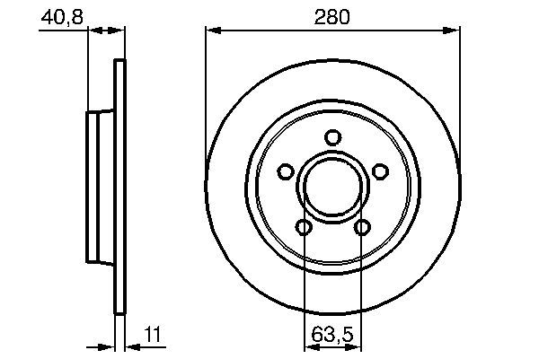 BOSCH  0 986 479 253 Bremsscheibe Bremsscheibendicke: 10,9mm, Lochanzahl: 5, Ø: 279,9mm