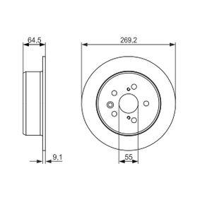 Disque de frein Épaisseur du disque de frein: 9mm, Nbre de trous: 5, Ø: 269,2mm avec OEM numéro 42431-20200