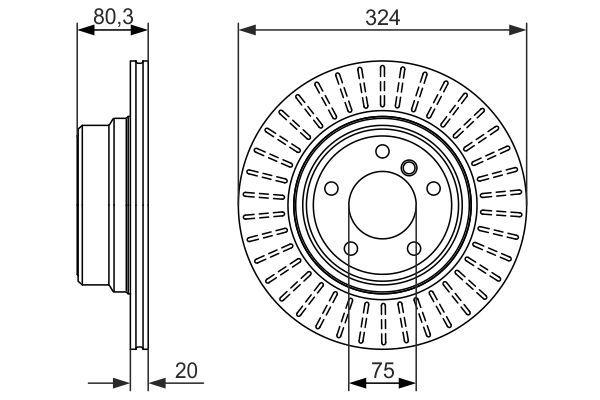 BOSCH  0 986 479 350 Bremsscheibe Bremsscheibendicke: 20mm, Lochanzahl: 5, Ø: 324mm