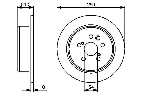 BOSCH  0 986 479 483 Disque de frein Epaisseur du disque de frein: 10mm, Nbre de trous: 5, Ø: 269,2mm