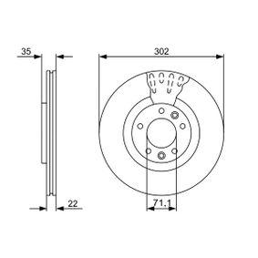 Bremsscheibe Bremsscheibendicke: 22mm, Lochanzahl: 5, Ø: 302mm mit OEM-Nummer 96 87 990 780