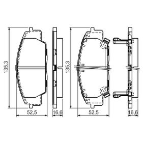 Brake Pad Set, disc brake Width: 135,3mm, Height: 52,5mm, Thickness: 17mm with OEM Number 45022-S2AE-50