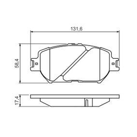 Bremsbelagsatz, Scheibenbremse Breite: 131,6mm, Höhe: 58,4mm, Dicke/Stärke: 17,4mm mit OEM-Nummer 04465-30340