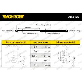 Heckklappendämpfer / Gasfeder Länge: 591mm, Hub: 200mm mit OEM-Nummer 1094814