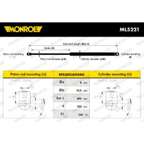 Muelle neumático, maletero / compartimento de carga Long.: 495mm, Carrera: 182mm con OEM número 1U6827550H