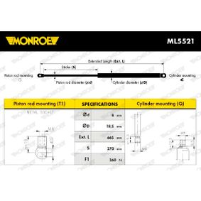 Heckklappendämpfer / Gasfeder Länge: 665mm, Hub: 270mm, Länge: 665mm mit OEM-Nummer 5124 8 149 328