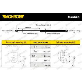 Heckklappendämpfer / Gasfeder Länge: 515mm, Hub: 190mm mit OEM-Nummer G21B-62-620A