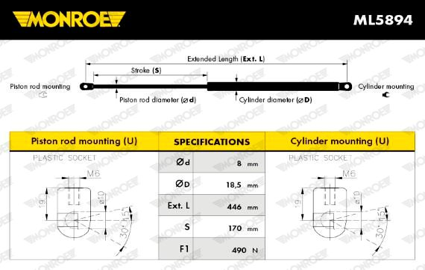 Heckklappendämpfer ML5894 MONROE ML5894 in Original Qualität