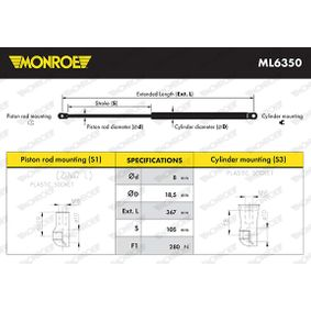 Heckklappendämpfer / Gasfeder Länge: 367mm, Hub: 105mm mit OEM-Nummer 51 24 7 304 556