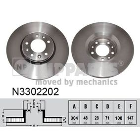 Brake Disc Brake Disc Thickness: 28mm, Rim: 5-Hole, Ø: 304mm with OEM Number SU001A1064