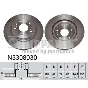 Bremsscheibe Bremsscheibendicke: 22mm, Lochanzahl: 5, Ø: 280mm mit OEM-Nummer 55311 61M 00