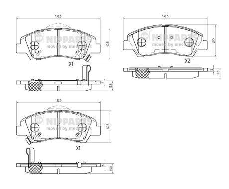NIPPARTS  N3600555 Bremsbelagsatz, Scheibenbremse Höhe: 50,6mm, Dicke/Stärke: 15,8mm