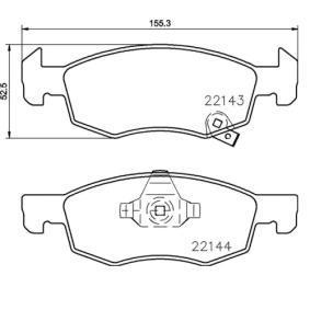 Bremsbelagsatz, Scheibenbremse Breite: 155,1mm, Höhe: 52,5mm, Dicke/Stärke: 17,4mm mit OEM-Nummer 22124