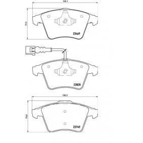 Brake Pad Set, disc brake Width 1: 155,1mm, Width 2 [mm]: 156,3mm, Height 1: 73,3mm, Height 2: 74,8mm, Thickness 1: 18,8mm, Thickness 2: 20,1mm with OEM Number 7L6 698 151 F