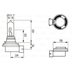 Крушка с нагреваема жичка, фар за дълги светлини H9, 65ват, 12волт 1 987 302 082