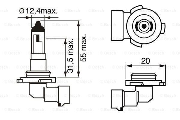 Крушка с нагреваема жичка, фар за мъгла 1 987 302 083 BOSCH H10 в оригиналното качество