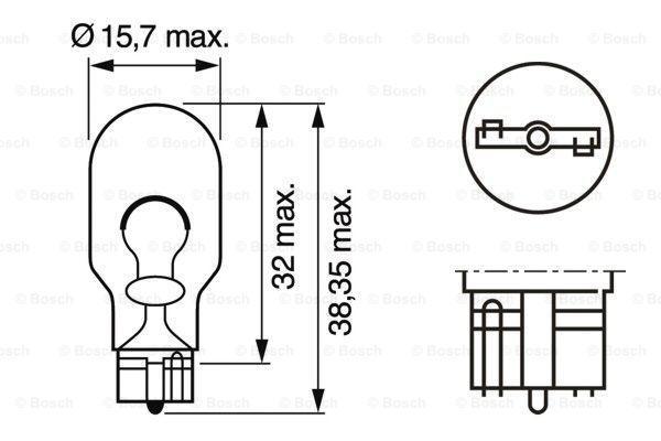 Bulb, indicator BOSCH W16W rating