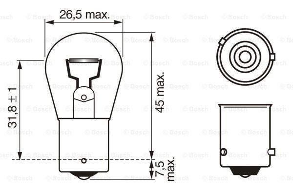 Lámpara, luz intermitente BOSCH Blister2pcs1987301018 3165141238761