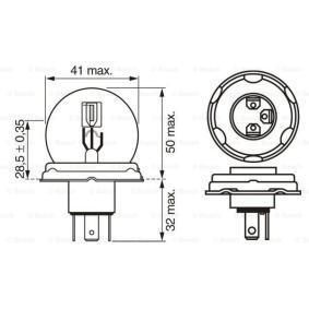 Крушка с нагреваема жичка, фар за дълги светлини R2 (Bilux), 55/50ват, 24волт 1 987 302 421