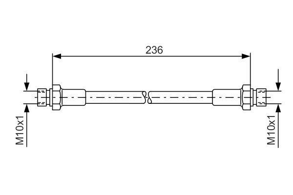 BOSCH  1 987 476 289 Bremsschlauch Länge: 236mm, Innengewinde: M10x1mm, Innengewinde 2: M10x1mm
