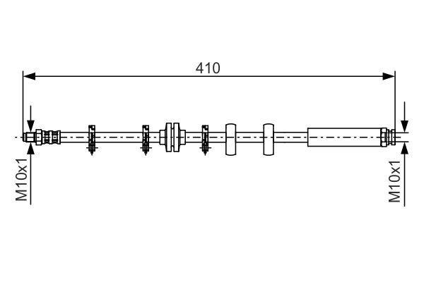 BOSCH  1 987 476 639 Bremsschlauch Länge: 386mm, Innengewinde: M10x1mm