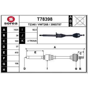 Drive Shaft Length: 1025mm, Outer teething wheel side: 38 with OEM Number 7E0 407 452JX