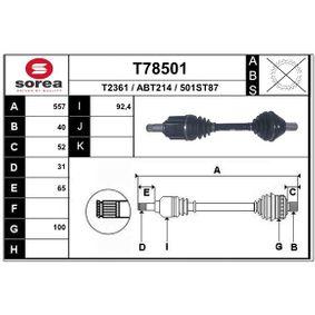 Antriebswelle Länge: 557mm, Außenverz.Radseite: 40 mit OEM-Nummer LR005870