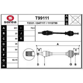 Antriebswelle T99111 Lodgy (JS_) 1.6 Bj 2018