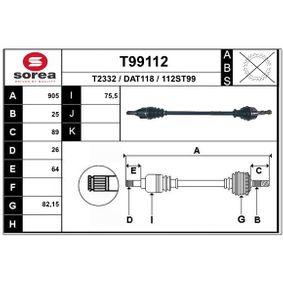 Antriebswelle T99112 Lodgy (JS_) 1.6 Bj 2016