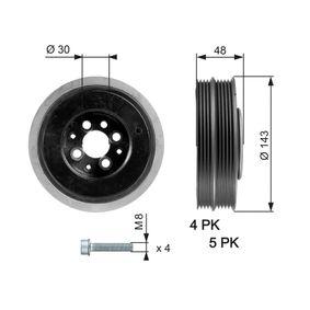 Kurbelwellenriemenscheibe VW PASSAT Variant (3B6) 1.9 TDI 130 PS ab 11.2000 GATES Riemenscheibe, Kurbelwelle (TVD1015A) für