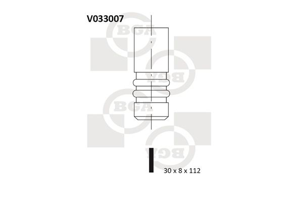BGA  V033007 Auslassventil Ventilteller-Ø: 30mm, Ventilschaft-Ø: 7,9mm