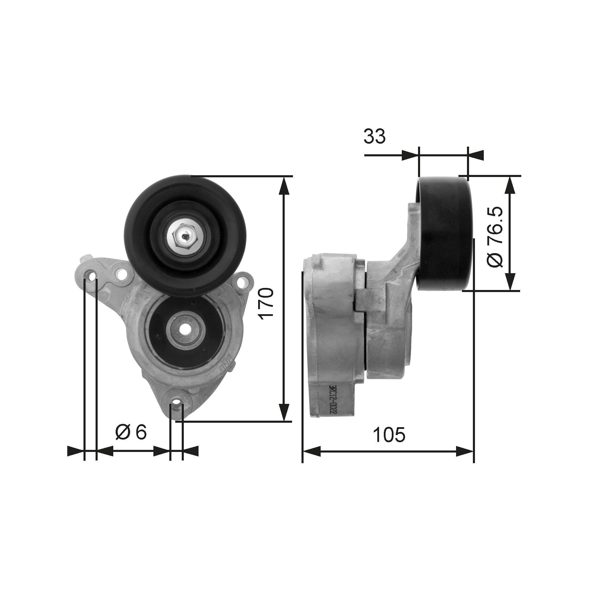 GATES FleetRunner™ Micro-V® Kit T38421 Tensioner Pulley, v-ribbed belt