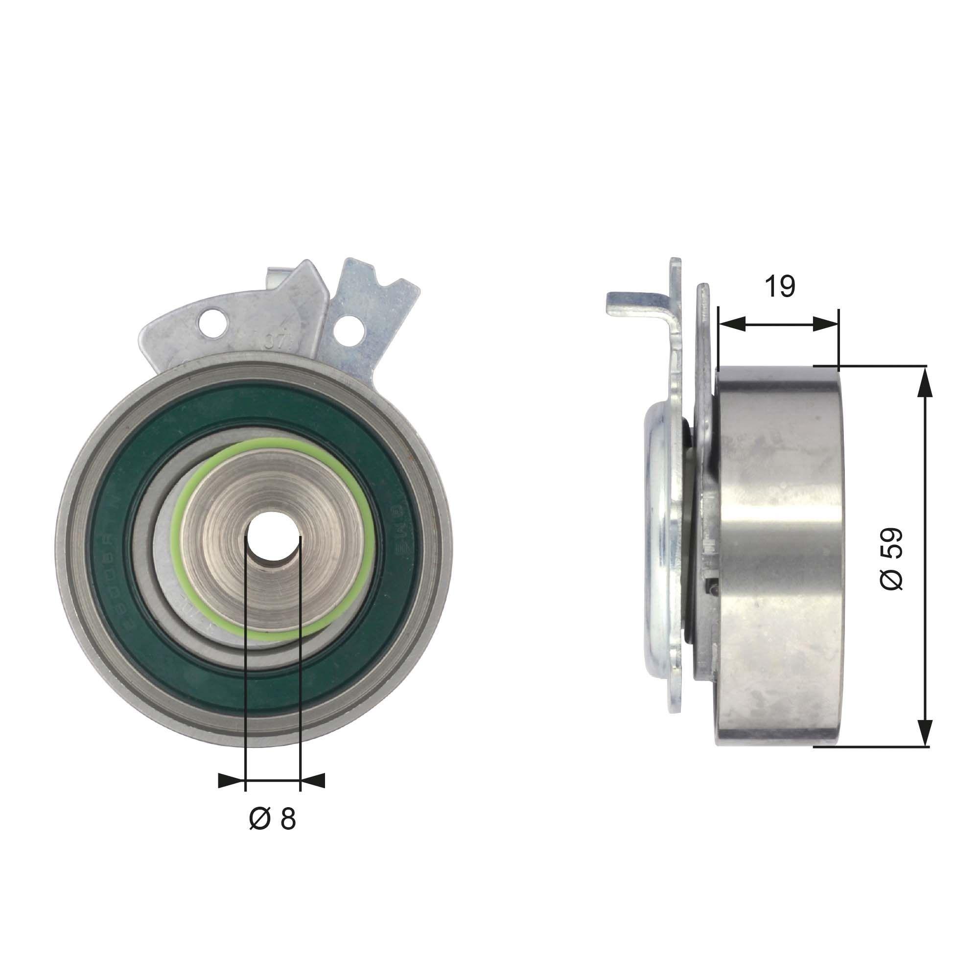 GATES FleetRunner™ Micro-V® Stretch Fit® T43038 Spannrolle, Zahnriemen Ø: 59mm