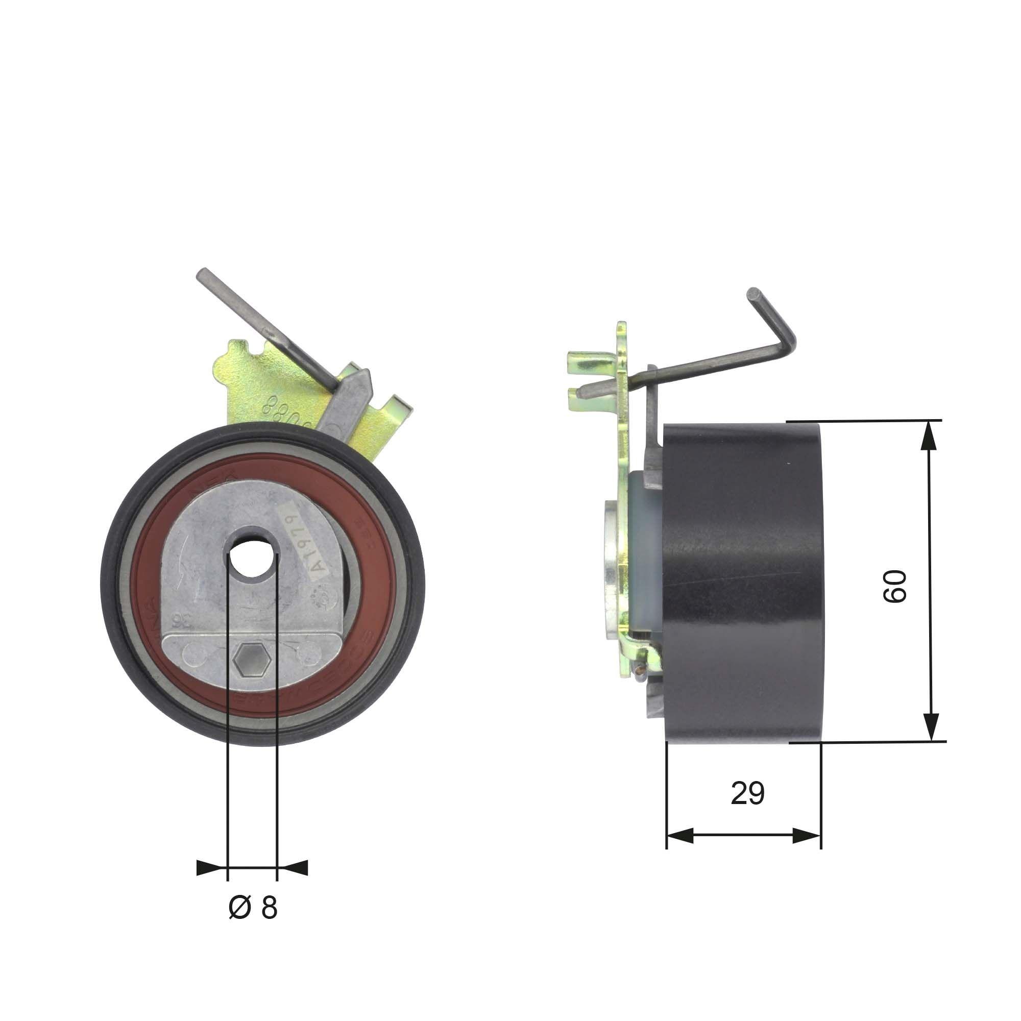 GATES FleetRunner™ Micro-V® Stretch Fit® T43088 Tensioner Pulley, timing belt Ø: 60mm