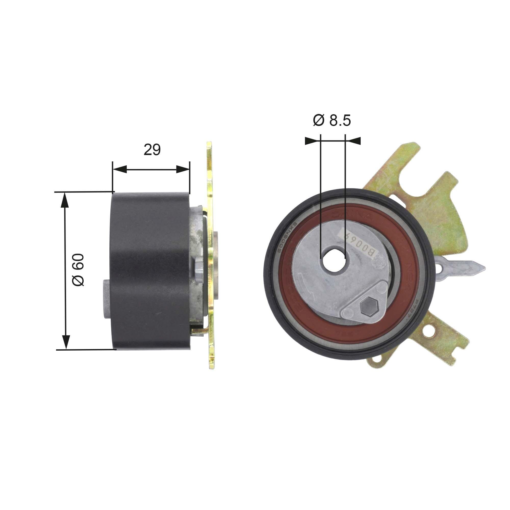 GATES FleetRunner™ Micro-V® Stretch Fit® T43089 Tensioner Pulley, timing belt Ø: 60mm