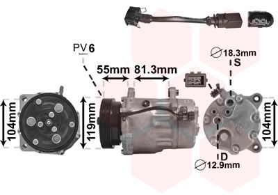 Kompressor, Klimaanlage 0300K001 VAN WEZEL 0300K001 in Original Qualität