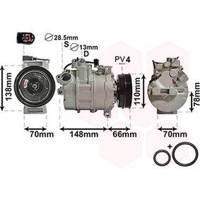 Compresor, aire acondicionado Polea Ø: 110mm, Número de canales: 4 con OEM número 8E0.260.805AB