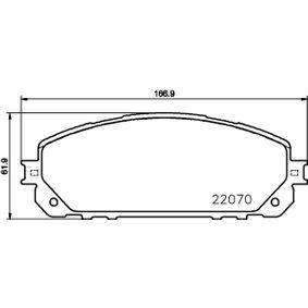 Bremsbelagsatz, Scheibenbremse Breite: 166,9mm, Höhe: 61,9mm, Dicke/Stärke: 18,1mm mit OEM-Nummer 6821 2327AB