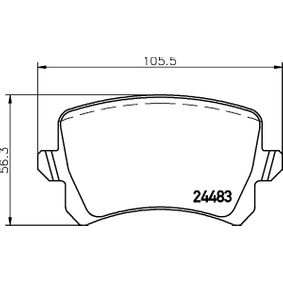 Bremsbelagsatz, Scheibenbremse Breite: 105,5mm, Höhe: 56,3mm, Dicke/Stärke: 17,2mm mit OEM-Nummer 1K0 698 451 L