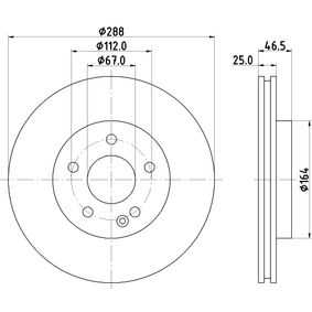 Bremsscheibe Bremsscheibendicke: 25,0mm, Ø: 288mm mit OEM-Nummer A 210 421 24 12 64