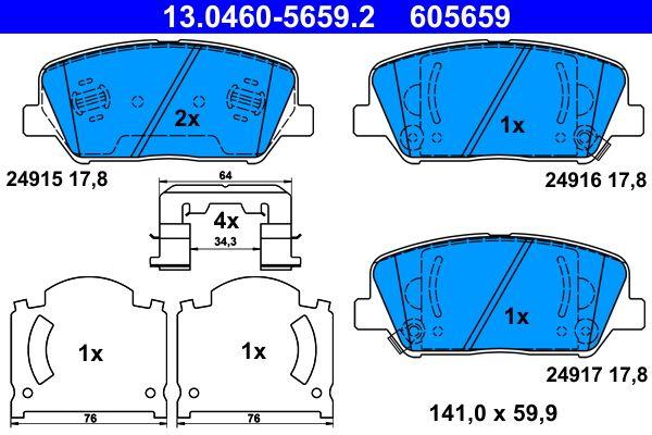 ATE  13.0460-5659.2 Bremsbelagsatz, Scheibenbremse Breite: 141,0mm, Höhe: 59,9mm, Dicke/Stärke: 17,8mm