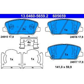 Bremsbelagsatz, Scheibenbremse Breite: 141,0mm, Höhe: 59,9mm, Dicke/Stärke: 17,8mm mit OEM-Nummer 58101 2MA00